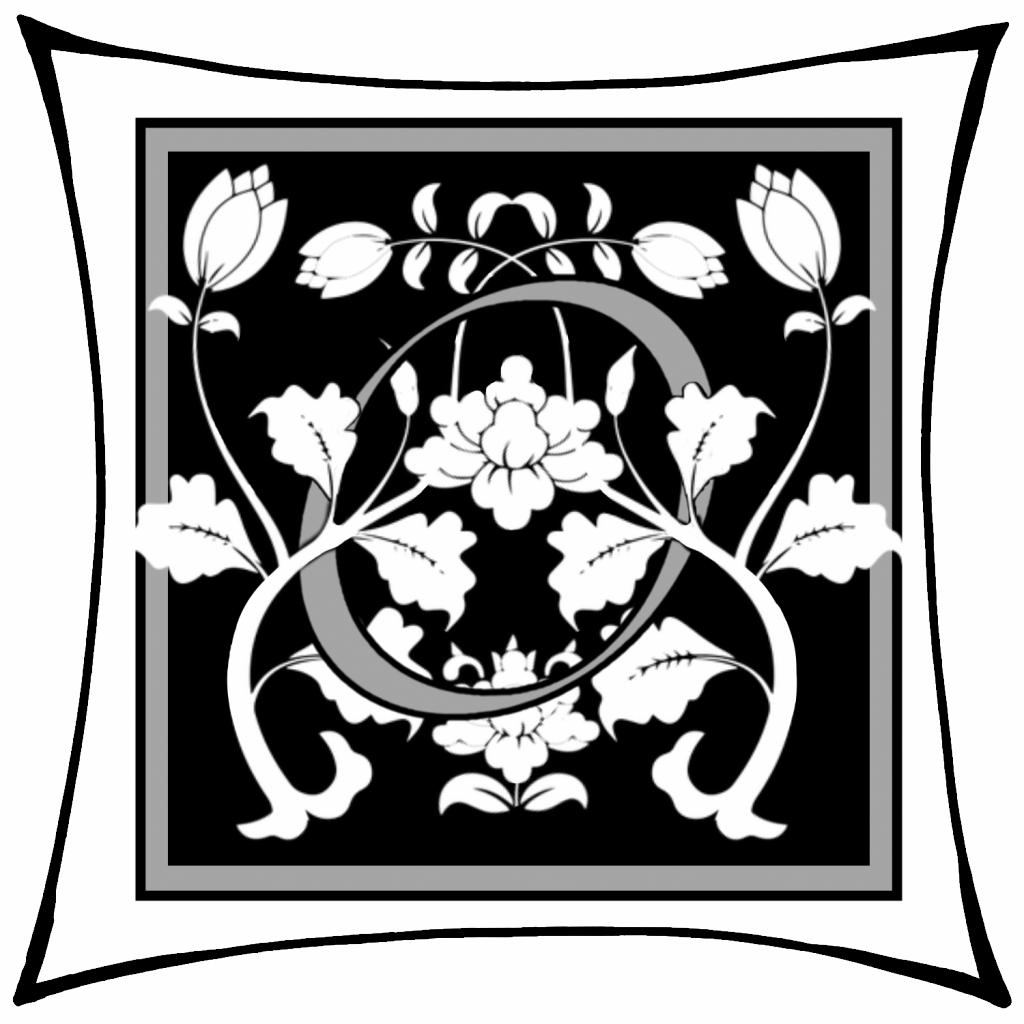 Ein O um dessen Arme Ranken geschlungen sind auf schwarzem Grund und mitgrauen graden Rahmen und darum noch ein weißer eckiger Rahmen.